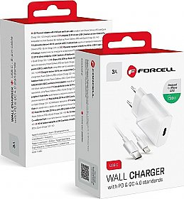 Forcell USB-C to Lightning Cable & Wall Adapter Λευκό (Travel Charger PD QC4.0)